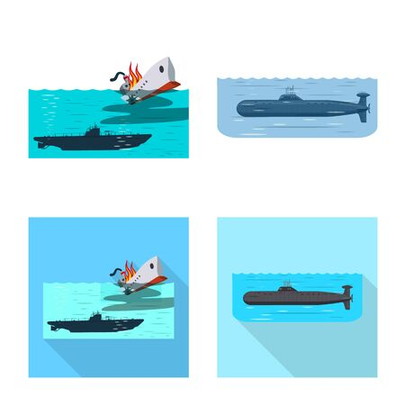 Vector illustration of war and ship  . Set of war and fleet stock symbol for web. Vettoriali