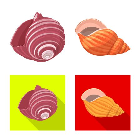 Vector design of animal and decoration sign. Collection of animal and ocean stock symbol for web. Çizim