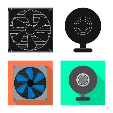 Isolated object of accessories and device  . Set of accessories and electronics stock vector illustration.