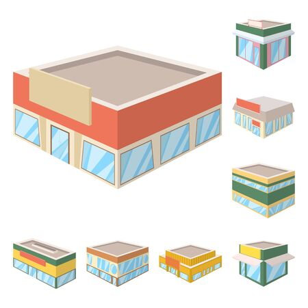 Vector design of and building  . Set of and business stock symbol for web. Illustration