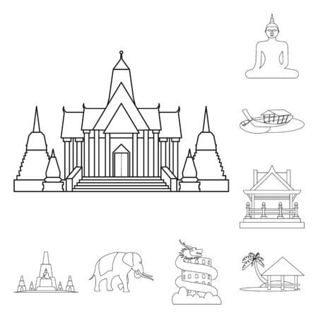 Vector illustration of landmark and culture icon. Set of landmark and tourism stock vector illustration.