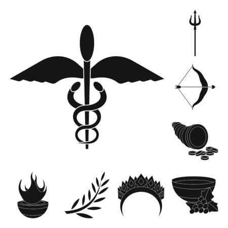 Isolated object of religion and myths  . Set of religion and greek stock vector illustration.