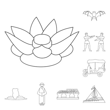 Vector illustration of landmark and culture symbol. Set of landmark and tourism vector icon for stock.