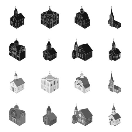 Isolated object of temple and historic icon. Collection of temple and faith vector icon for stock.