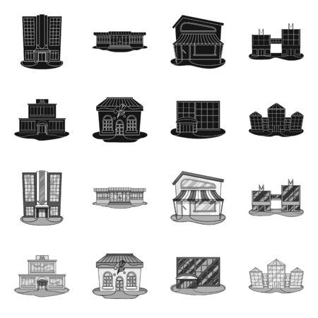 Vector design of supermarket and building sign. Collection of supermarket and local vector icon for stock. Illustration
