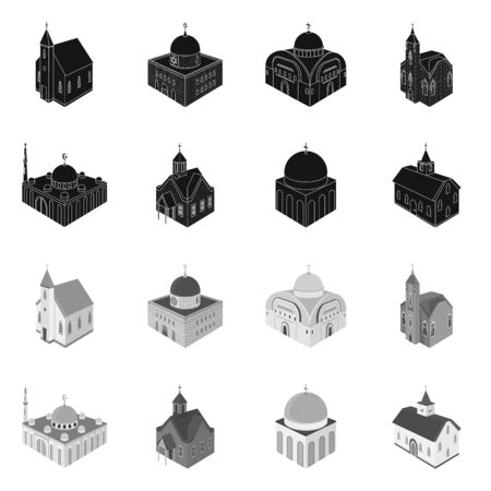Vector design of temple and historic  . Set of temple and faith vector icon for stock.