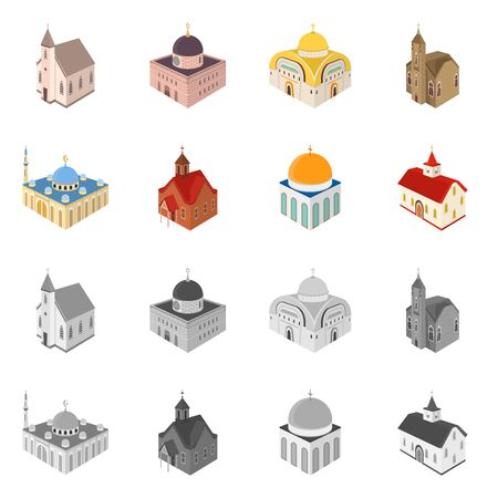 Isolated object of temple and historic  . Collection of temple and faith stock symbol for web.