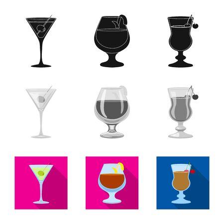 Vector design of liquor and restaurant symbol. Collection of liquor and ingredient stock symbol for web.
