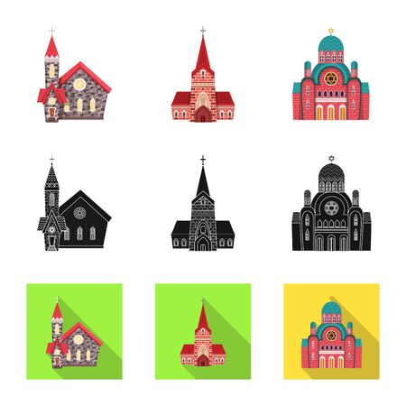 Vector illustration of cult and temple  . Collection of cult and parish stock vector illustration.