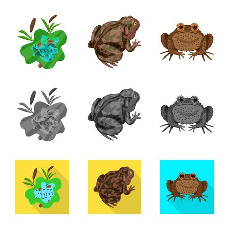 Isolated object of wildlife and bog symbol. Collection of wildlife and reptile vector icon for stock.