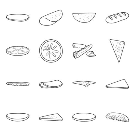 Vector illustration of burger and snack symbol. Collection of burger and breakfast stock vector illustration.