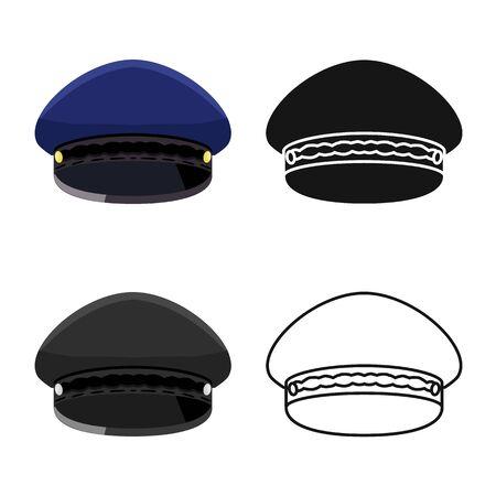 Vector illustration of cap and soldier  . Collection of cap and airline stock vector illustration. Stock Illustratie