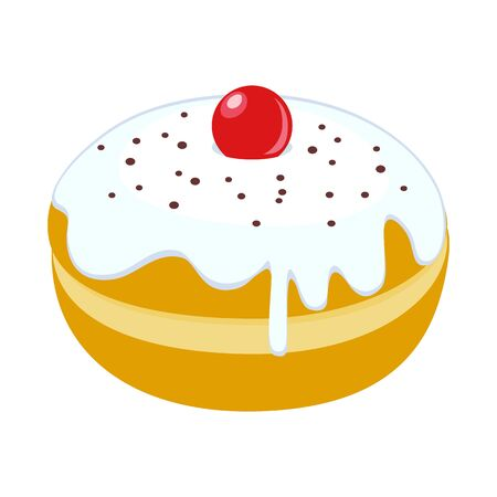 Vector illustration of donut and cream icon. Web element of donut and berry stock symbol for web.