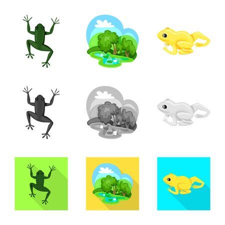 Vector design of wildlife and bog symbol. Collection of wildlife and reptile vector icon for stock.