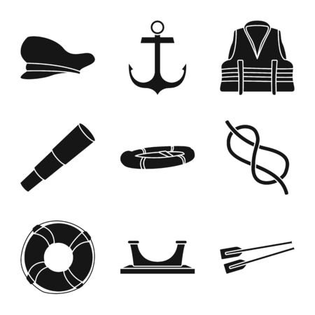 Vector illustration of attributes and vintage symbol. Set of attributes and sea stock symbol for web. Vectores