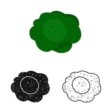Isolated object of broccoli and cabbage logo. Collection of broccoli and vegetable vector icon for stock.