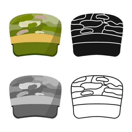 Isolated object of cap and hat icon. Collection of cap and soldier vector icon for stock.