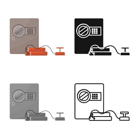 Vector illustration of safe and dynamite  . Collection of safe and bank vector icon for stock.