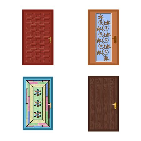Isolated object of door and front sign. Collection of door and wooden vector icon for stock.