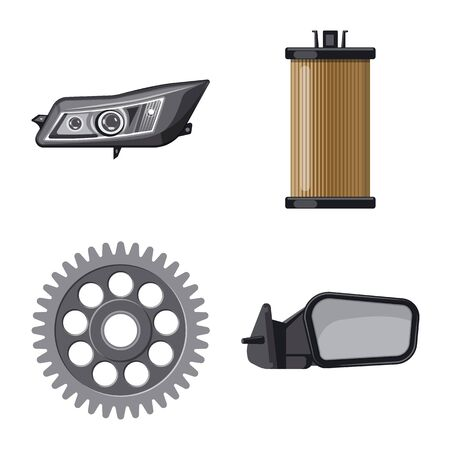 Vector design of auto and part . Set of auto and car vector icon for stock.