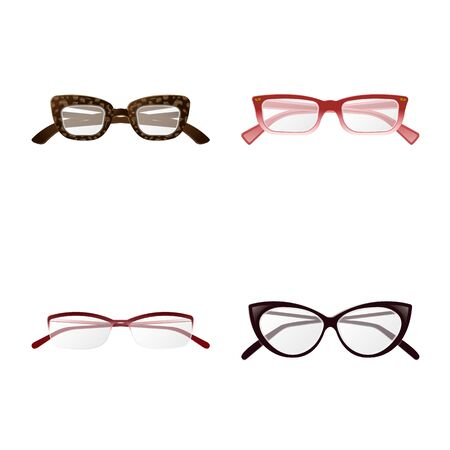 Vector design of glasses and frame icon. Set of glasses and accessory stock vector illustration. Иллюстрация