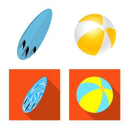 Vector illustration of equipment and swimming  . Set of equipment and activity vector icon for stock. Stock Illustratie