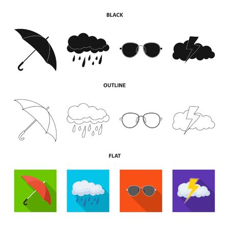 Isolated object of weather and climate symbol. Set of weather and cloud stock symbol for web. Illustration