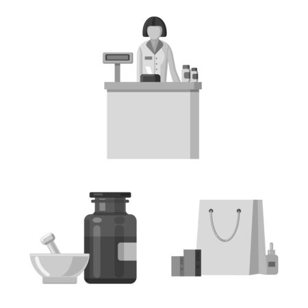 Isolated object of pharmacy and hospital icon. Set of pharmacy and business stock vector illustration.