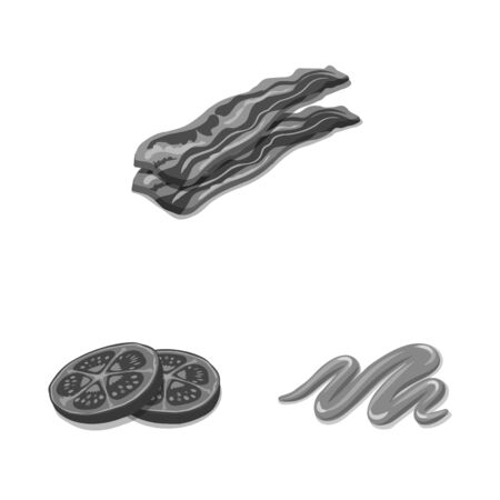 Vector design of burger and sandwich  . Collection of burger and slice vector icon for stock.