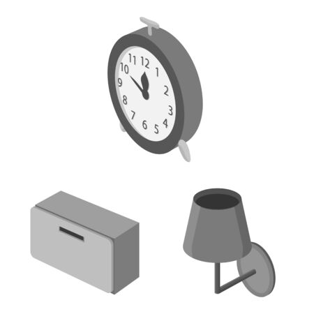 Vector design of bedroom and room icon. Collection of bedroom and furniture stock symbol for web. Ilustracja