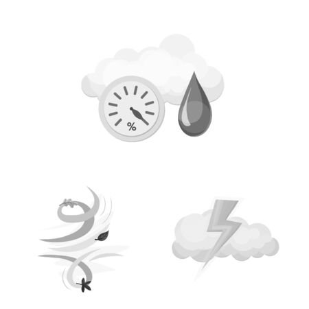 Isolated object of weather and climate icon. Collection of weather and cloud stock vector illustration.
