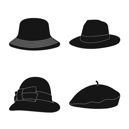 Vector design of headgear and cap symbol. Set of headgear and accessory stock symbol for web.