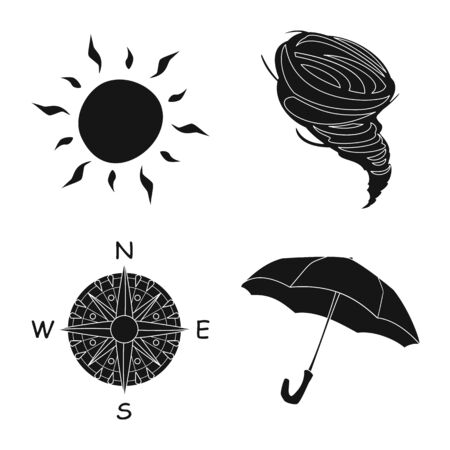 Vector design of weather and climate icon. Set of weather and cloud stock vector illustration.