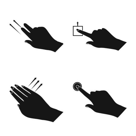 Vector illustration of touchscreen and hand sign. Set of touchscreen and touch stock vector illustration. Ilustração
