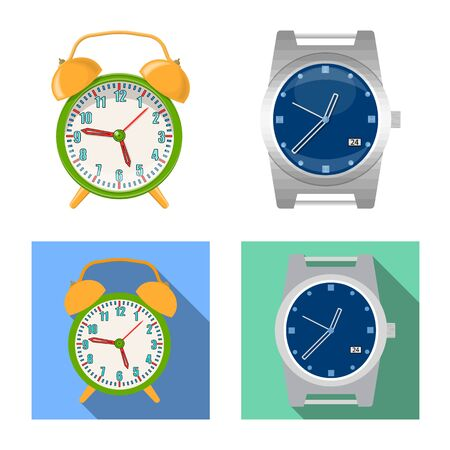 Isolated object of clock and time symbol. Set of clock and circle stock symbol for web.