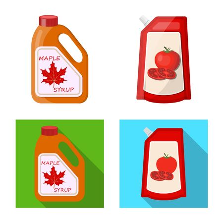 Vector design of can and food symbol. Collection of can and package vector icon for stock. Çizim