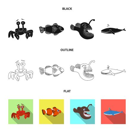 Vector illustration of sea and animal sign. Set of sea and marine stock symbol for web.