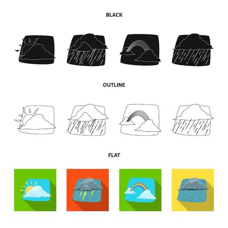 Isolated object of weather and climate symbol. Collection of weather and cloud stock vector illustration.