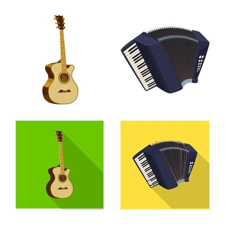 Isolated object of music and tune icon. Set of music and tool vector icon for stock. Ilustração