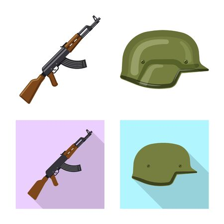 Isolated object of weapon and gun sign. Collection of weapon and army stock symbol for web.