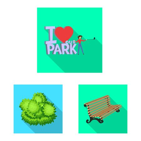 Vector illustration of urban and street sign. Set of urban and relaxation stock symbol for web.