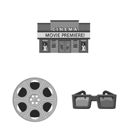 Vector illustration of cinematography and studio symbol. Set of cinematography and filming vector icon for stock.