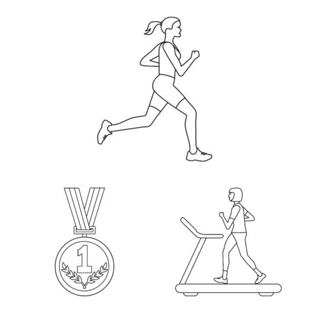 Isolated object of exercise and sprinter icon. Set of exercise and marathon vector icon for stock.