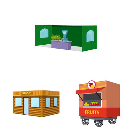 Vector illustration of booth and kiosk icon. Set of booth and small vector icon for stock.