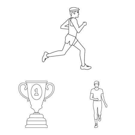 Vector illustration of exercise and sprinter sign. Set of exercise and marathon stock symbol for web.