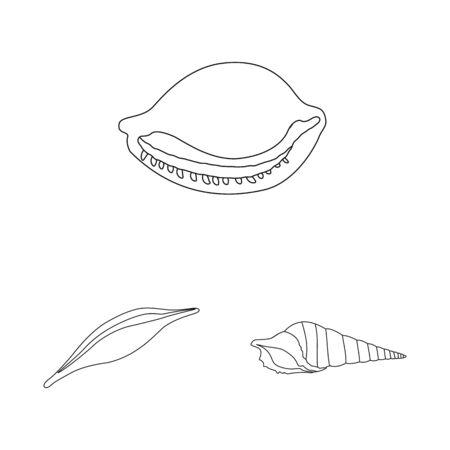 Vector illustration of exotic and seafood icon. Collection of exotic and aquatic stock vector illustration. Ilustração