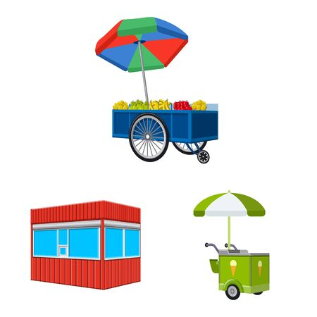 Isolated object of booth and kiosk icon. Set of booth and small stock vector illustration.