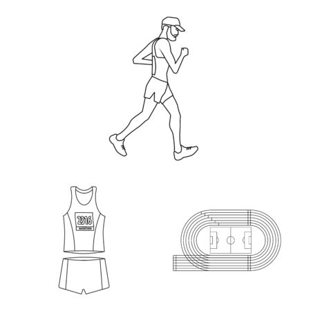Isolated object of exercise and sprinter icon. Collection of exercise and marathon stock vector illustration. 스톡 콘텐츠 - 131186242
