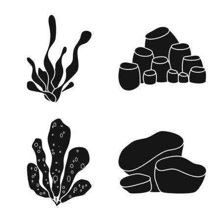 Vector illustration of decoration and wildlife sign. Collection of decoration and aquarium stock symbol for web.