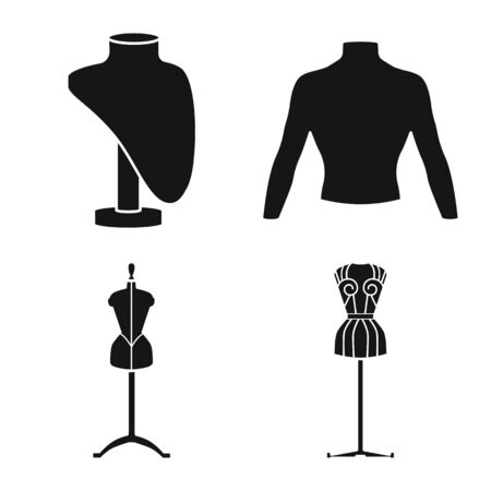 Vector illustration of mannequin and fashion . Collection of mannequin and equipment vector icon for stock.